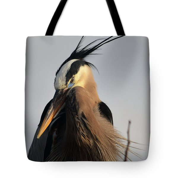 Tote Bag featuring the pyrography Chief Great Blue by Sally Sperry