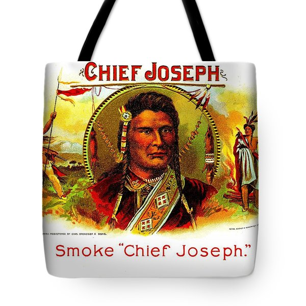 Tote Bag featuring the painting Chief Joseph Cigar Box Label by Peter Gumaer Ogden Collection