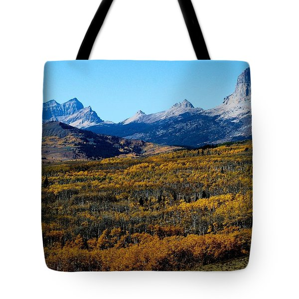 Chief Mountain In The Fall Tote Bag