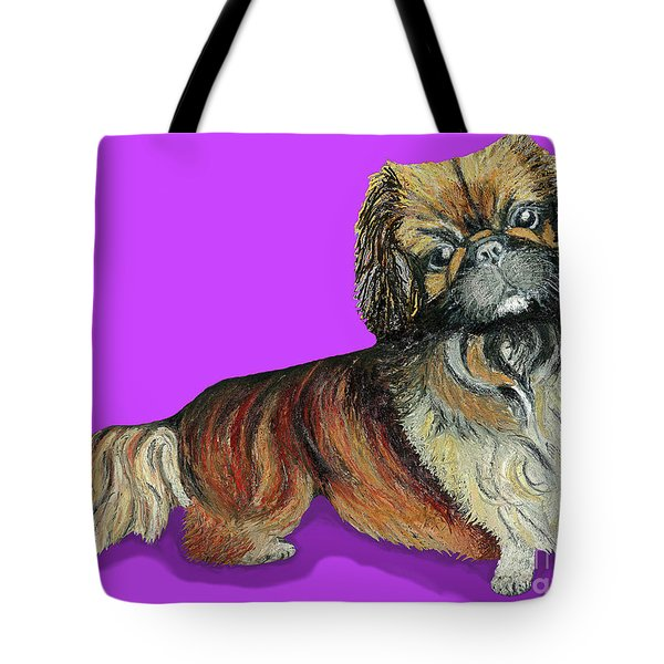 Tote Bag featuring the pastel Chien Chien Pekingese by Ania M Milo