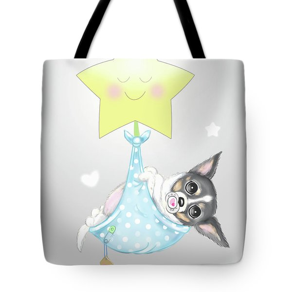Tote Bag featuring the painting Chihuahua Cookie Baby by Catia Lee