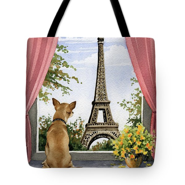 Chihuahua In Paris Tote Bag