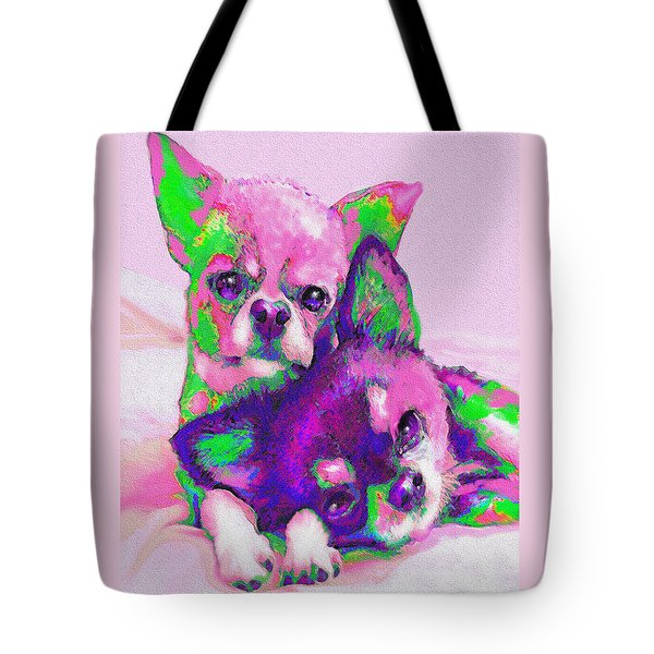 Tote Bag featuring the digital art Chihuahua Love by Jane Schnetlage