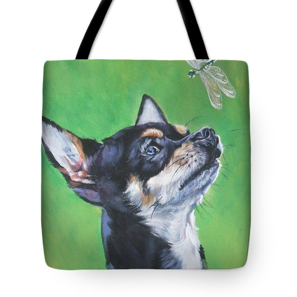 Chihuahua With Dragonfly Tote Bag