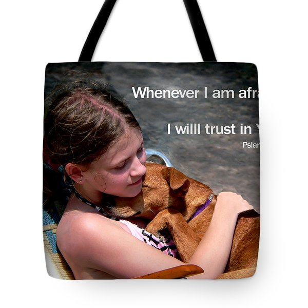 Child And Puppy Psalms Tote Bag