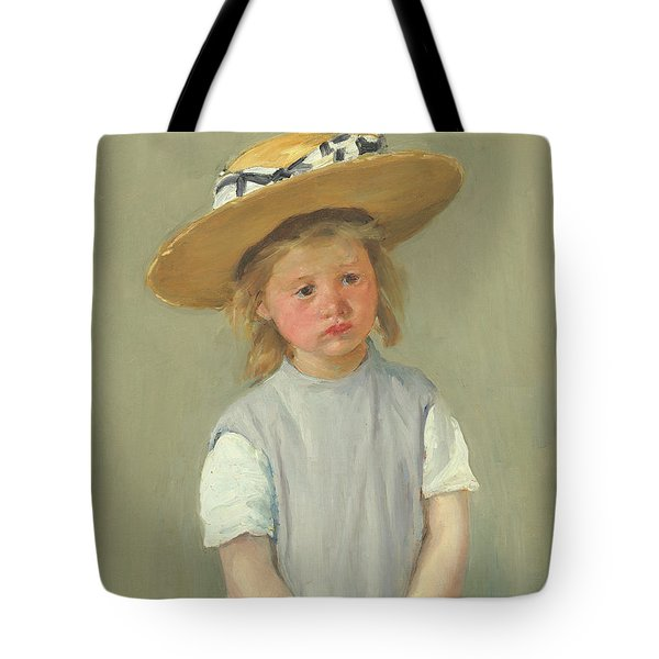 Tote Bag featuring the painting Child In A Straw Hat By Mary Cassatt 1886 by Movie Poster Prints