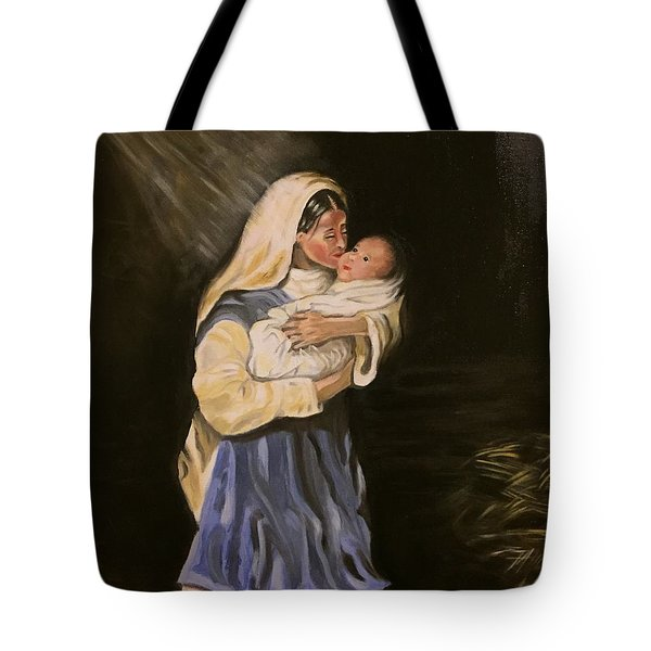 Child In Manger Tote Bag by Brindha Naveen