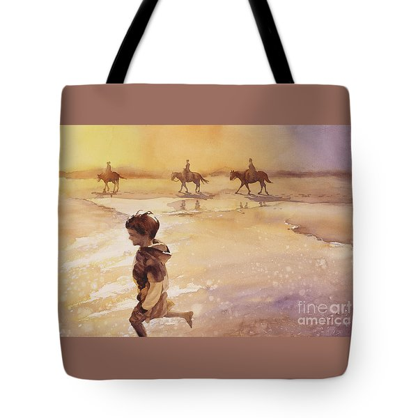 Tote Bag featuring the painting Child On Beach- Ocracoke Island, Nc by Ryan Fox