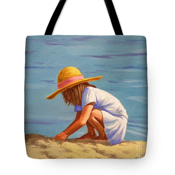 Child Playing In The Sand Tote Bag