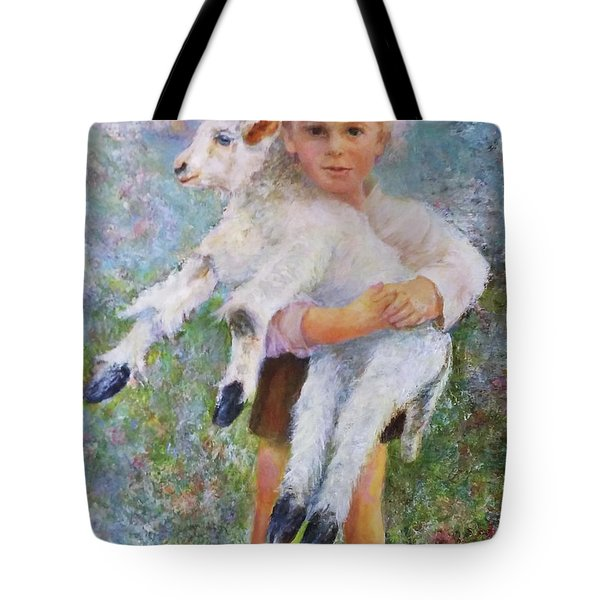 Child With A Lamb Tote Bag
