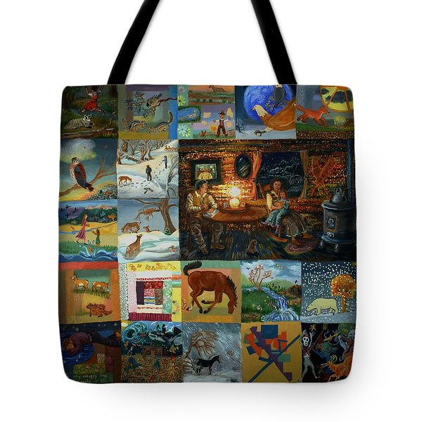 Tote Bag featuring the painting Childhood Quilt by Dawn Senior-Trask