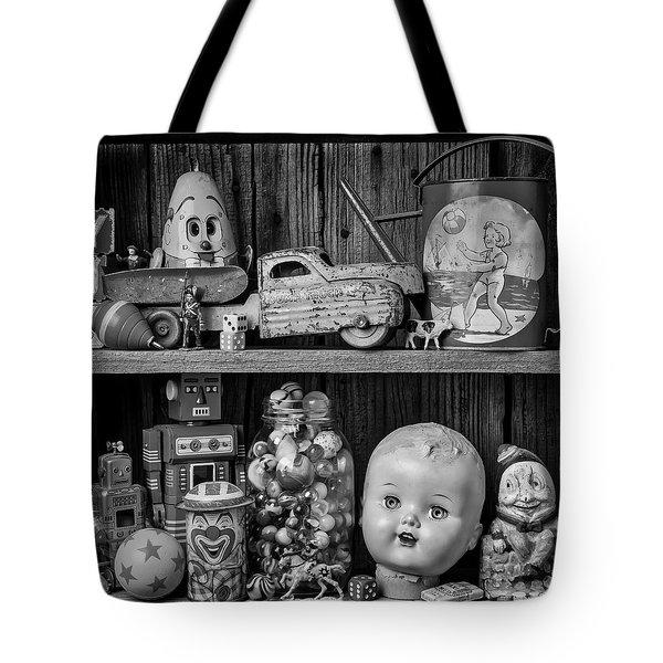 Childhood Toys On Old Shelf Tote Bag