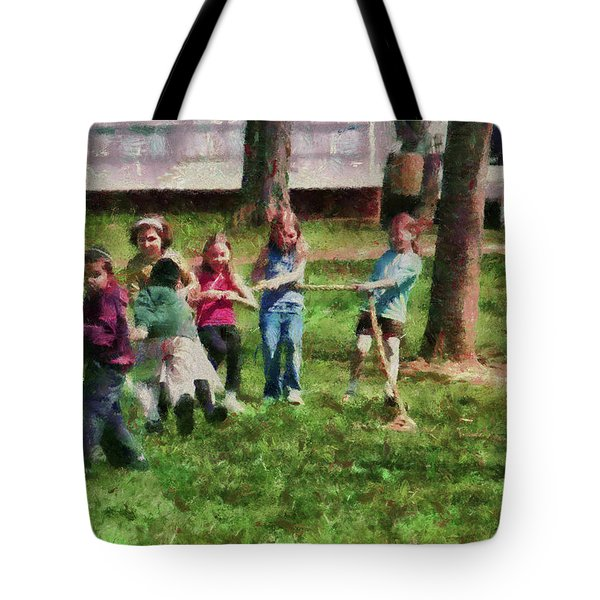 Children - Tug Of War  Tote Bag by Mike Savad