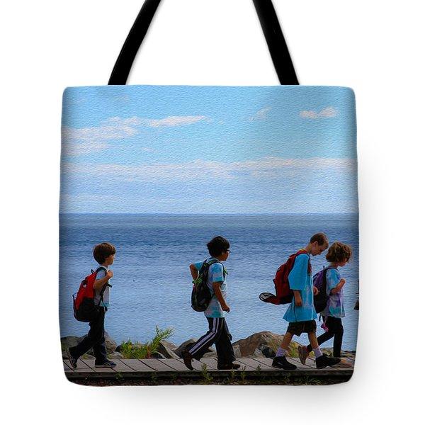 Children On Lake Walk Tote Bag