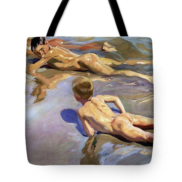 Children On The Beach Tote Bag by Joaquin Sorolla y Bastida