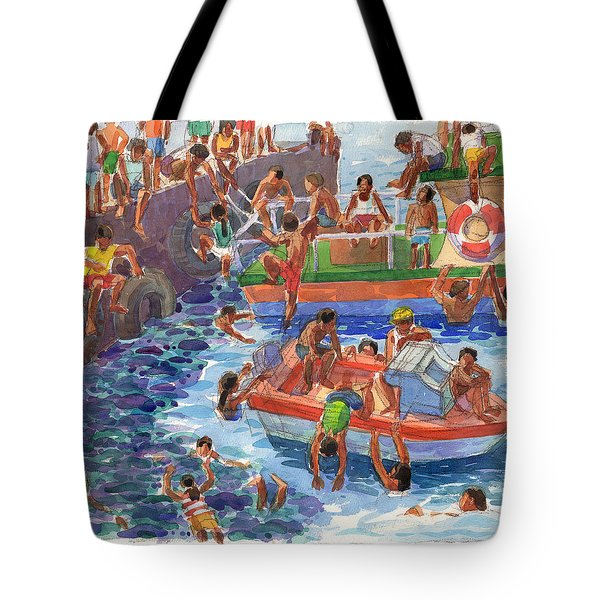 Tote Bag featuring the painting Children Playing At Avarua Wharf  by Judith Kunzle