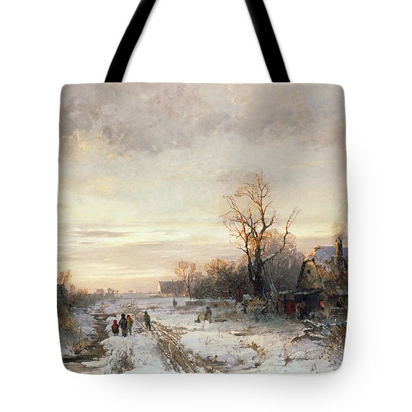 Children Playing In A Winter Landscape Tote Bag by August Fink