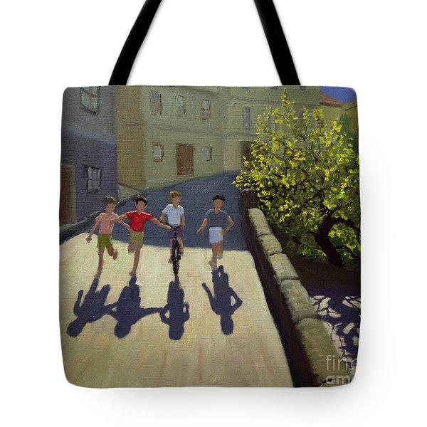 Children Running Tote Bag by Andrew Macara