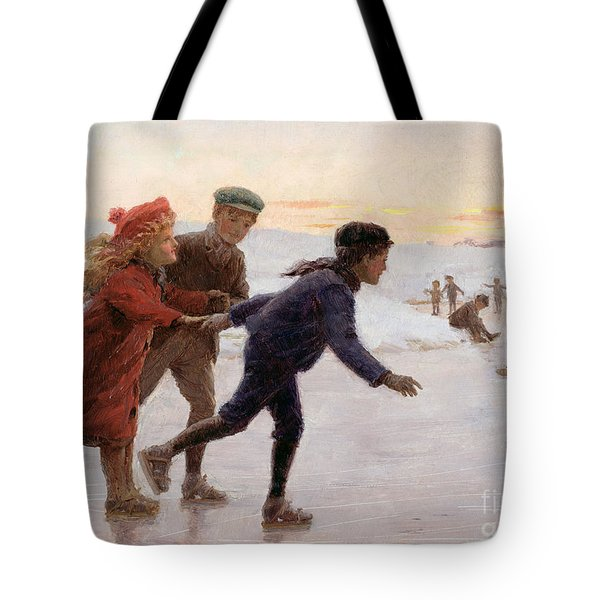 Children Skating Tote Bag by Percy Tarrant
