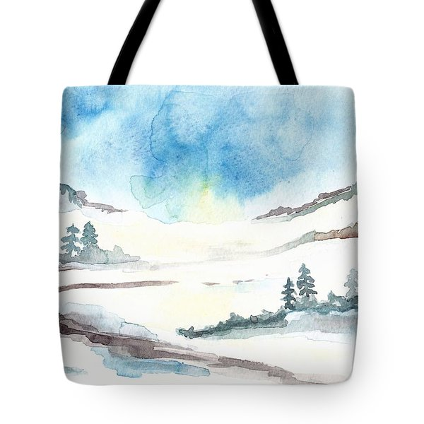 Children's Book Illustration Of Mountains Tote Bag
