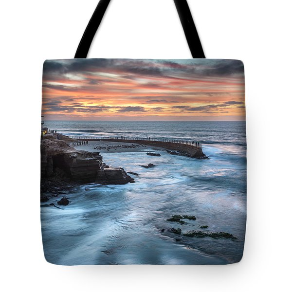 Childrens Pool Fall Sunset Tote Bag by Scott Cunningham