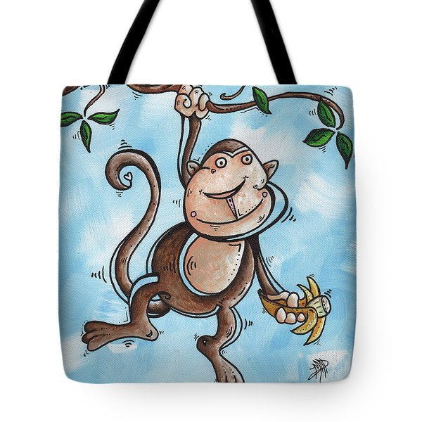Childrens Whimsical Nursery Art Original Monkey Painting Monkey Buttons By Madart Tote Bag by Megan Duncanson