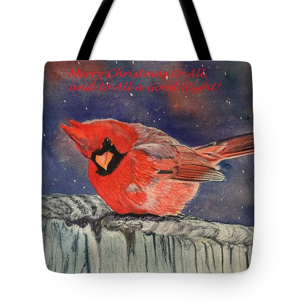 Chilly Bird Christmas Card Tote Bag