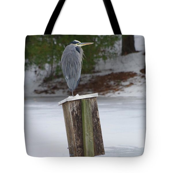 Chilly Blue Heron Tote Bag