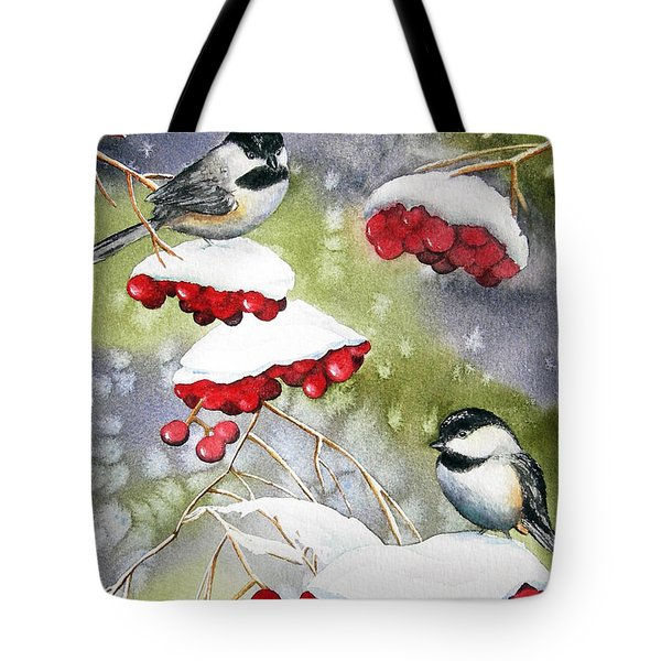 Chilly Chickadees Tote Bag