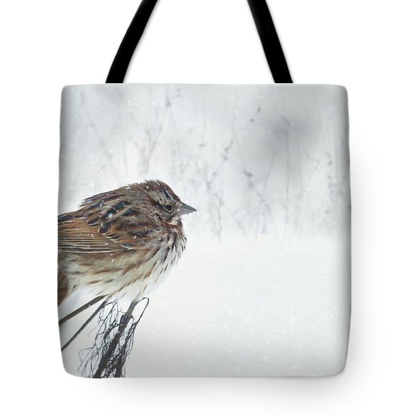 Tote Bag featuring the mixed media Chilly Song Sparrow by Lori Deiter