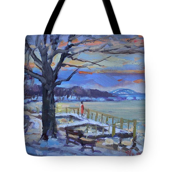Chilly Sunset In Niagara River Tote Bag