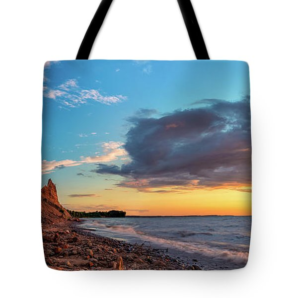 Chimney Bluffs Tote Bag by Mark Papke