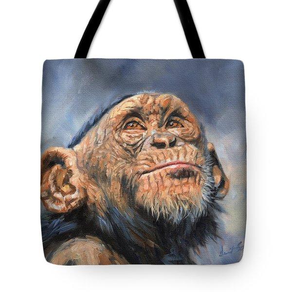 Chimp Tote Bag by David Stribbling