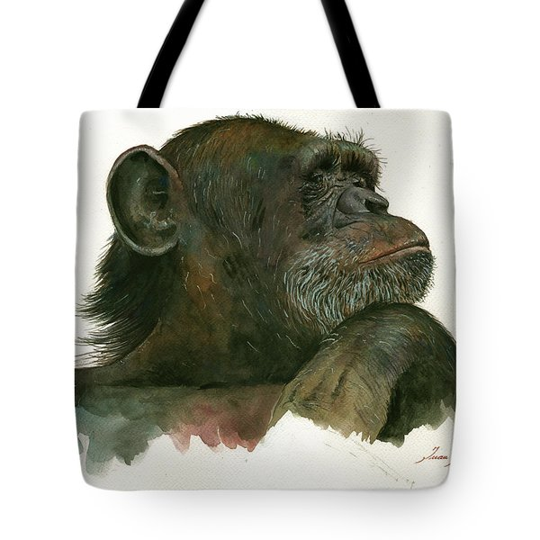 Chimp Portrait Tote Bag by Juan Bosco