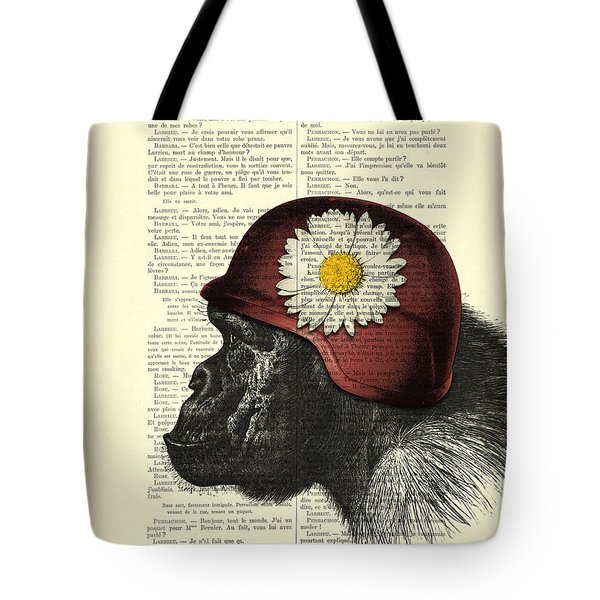 Chimpanzee With Helmet Daisy Flower Dictionary Art Tote Bag
