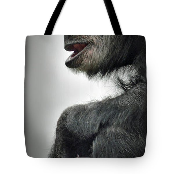 Chimpanzee Profile Vignetee Effect Tote Bag