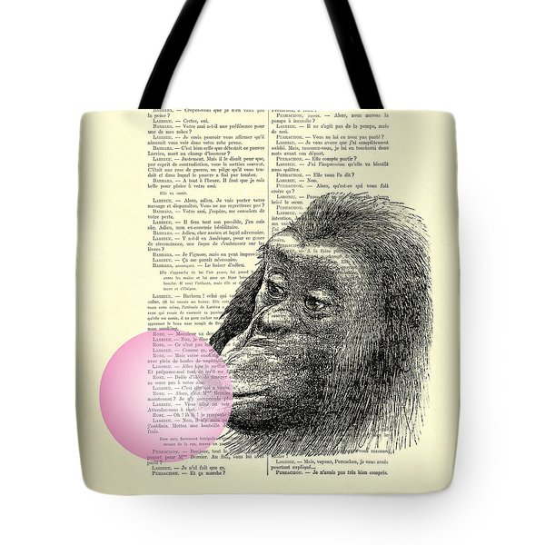 Chimpanzee Pink Bubblegum Nursery Girl's Bedroom Tote Bag