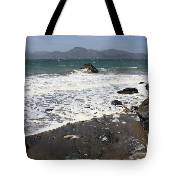 China Beach With Outgoing Wave Tote Bag by Carol Groenen