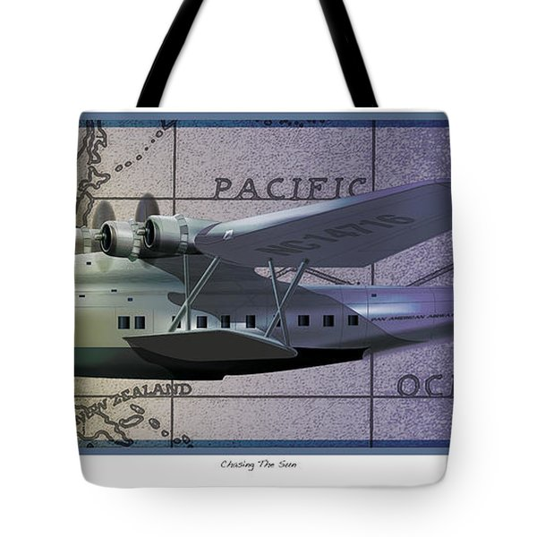 Tote Bag featuring the drawing China Clipper Chasing The Sun by Kenneth De Tore
