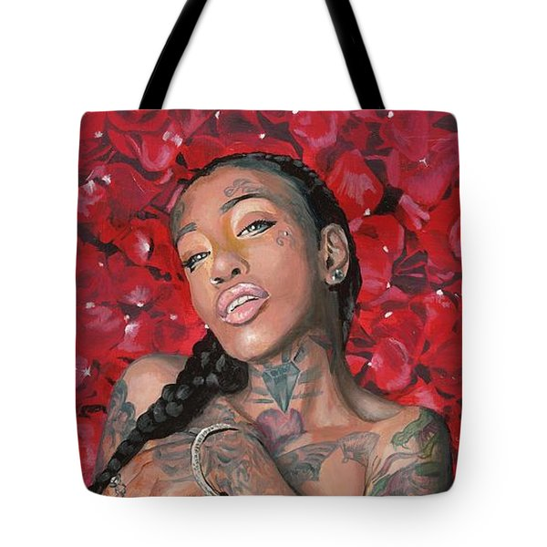 Tote Bag featuring the painting China Dawl by Baroquen Krafts