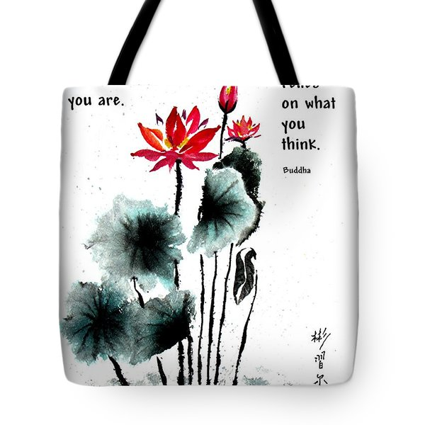 China Garden With Buddha Quote Tote Bag