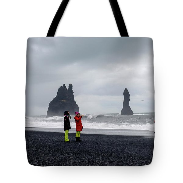 Tote Bag featuring the photograph China's Tourists In Reynisfjara Black Sand Beach, Iceland by Dubi Roman