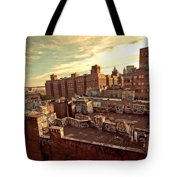 Chinatown Rooftop Graffiti And The Brooklyn Bridge - New York City Tote Bag by Vivienne Gucwa