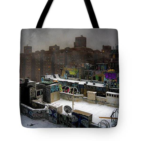 Tote Bag featuring the photograph Chinatown Rooftops In Winter by Chris Lord