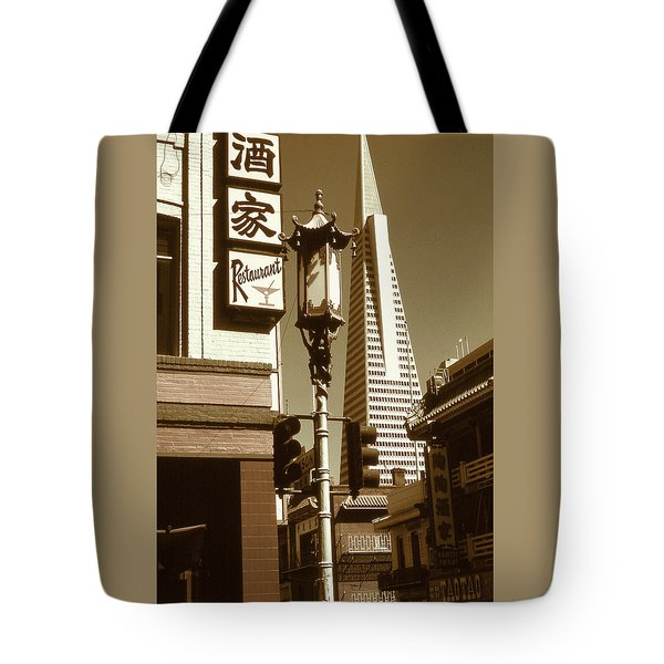 San Francisco Chinatown And Pyramid Tote Bag