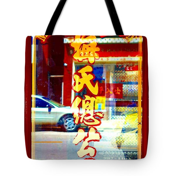 Tote Bag featuring the photograph Chinatown Window Reflection 1 by Marianne Dow