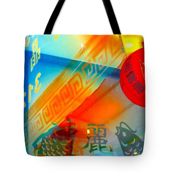 Tote Bag featuring the photograph Chinatown Window Reflection 3 by Marianne Dow