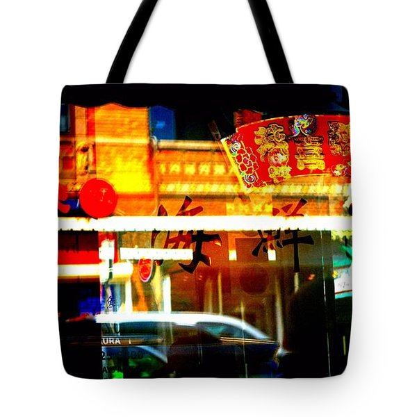 Tote Bag featuring the photograph Chinatown Window Reflections 2 by Marianne Dow