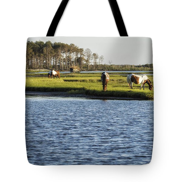 Chincoteague Ponies On Assateague Island Tote Bag