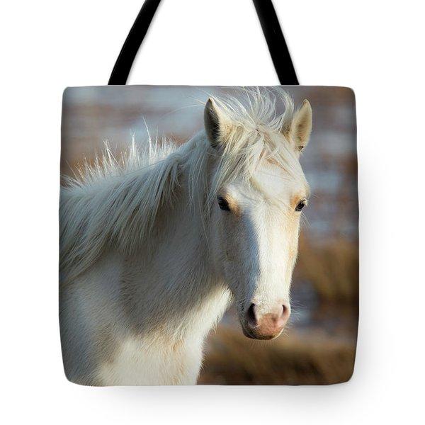 Chincoteague White Pony Tote Bag